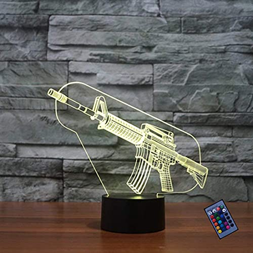 Kreative 3D Waffe Nacht Licht 16 Farben Andern Sich Fernbedienung USB-Strom Touch Schalter Dekor Lampe Optische Täuschung Lampe LED Lampe Tisch Kinder Brithday Weihnachten Geschenke