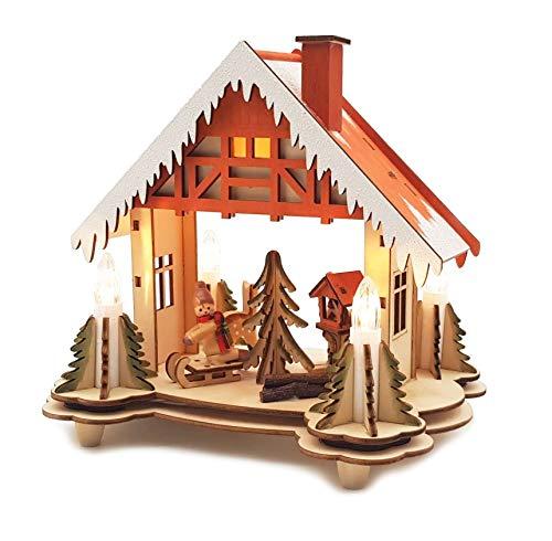 Wichtelstube-Kollektion LED Weihnachtshaus Holz Futterkrippe Original Weihnachtsdeko Lichterbogen Schwippbogen