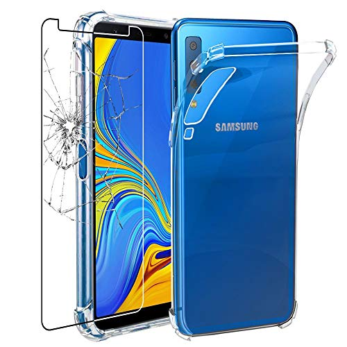 ebestStar - Funda Compatible con Samsung A7 Galaxy 2018 SM-A750F, Transparente + Cristal Templado Protector Pantalla [NB: Leer descripción] [Aparato: 159.8 x 76.8 x 7.5mm, 6.0'']