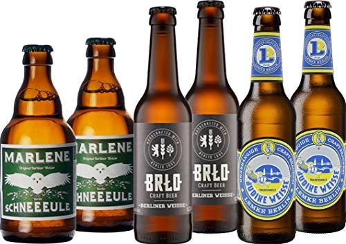 Berliner Weisse Bier Paket mit 6 Bierflaschen - 2 x Schneeeule Marlene + 2 Stone White Geist Berliner Weisse + 2 x BRLO Weisse - Berliner Weisse Bier Paket