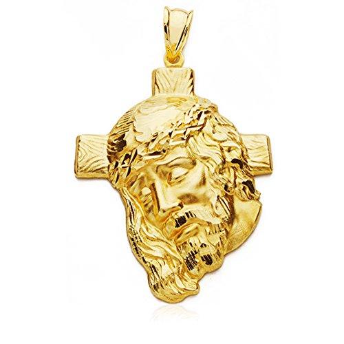 Colgante Cabeza Cristo cruz Oro 18 kilates 37x29mm
