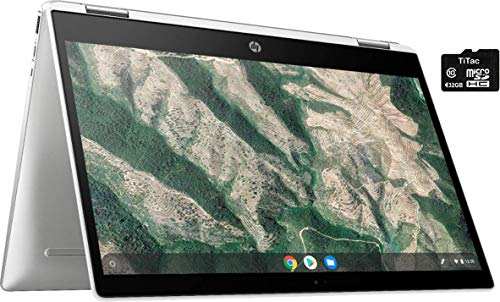 "2021 HP X360 2 in 1 Laptop 14"" Touch-Screen HD Chromebook, Intel Celeron N4000, 4GB Memory, 32GB eMMC Storage, USB Type C, WiFi, Webcam, Chrome OS, Ceramic White + 32GB TiTac SD Card"