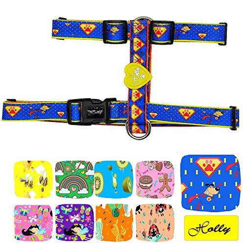Holly Mascotas Arnés clásico Premium para Perros Pequeños Medianos y Grandes Ajustable, Confort, arnés de Perro de Nylon.(S, Azul)