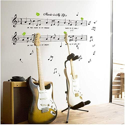 Pegatina pentagrama y nota musicales habitaciones centro de ocio pared/cristal cafeterias librerias escaparates, academias, estudio musica aticos, colegios 1.20 x 70 cm de CHIPYHOME