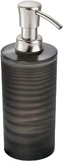 InterDesign Lotus Liquid Soap & Lotion Dispenser Pump for Kitchen or Bathroom Countertops, Frost Black/Chrome