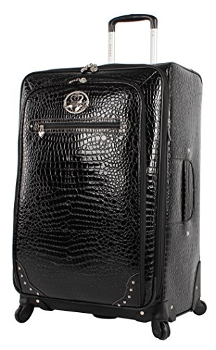 Kathy Van Zeeland Croco PVC Designer Luggage - Lightweight Expandable 28 Inch Suitcase for Women - Large Durable Bag with 4-Rolling Spinner Wheels (Black)