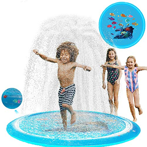 n\a Juguete de agua para jardín, alfombra de juego de agua, alfombra de aspersión, juguete para niños, piscina de 170 cm, juguete para el aire libre para el verano