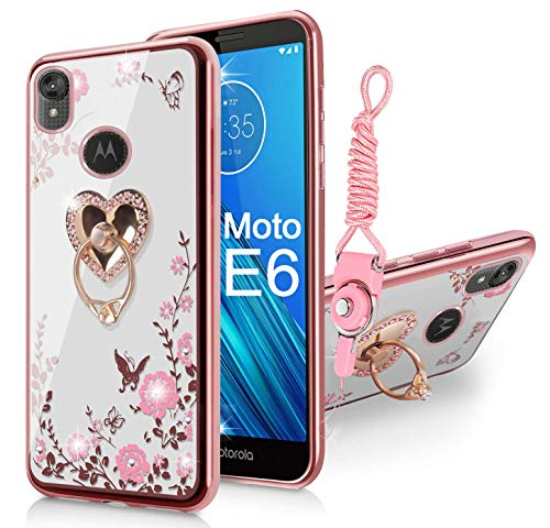 Moto E6 Case with Lanyard Neck Strap, Glitter Crystal Butterfly Heart Floral Series-Cute for Girls Women Soft TPU Protective Cover Clear Case with Ring Stand Holder for Motorola E6 - Rose Gold