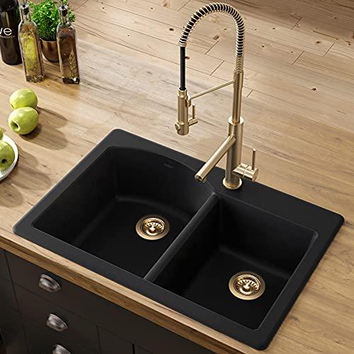 """Kraus Forteza 33"""" Drop-In/Undermount Granite 60/40 Double Bowl Kitchen Sink - Black (KGD-50BLACK)"""