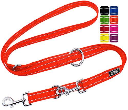 DDOXX Hundeleine Nylon, reflektierend, 3fach verstellbar, 2m | für kleine & große Hunde | Doppel-Leine Zwei Hund Katze Welpe | Schlepp-Leine | Führ-Leine | Lauf-Leine Welpen-Leine | XS, Orange