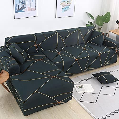 MKQB Funda de sofá de Esquina en Forma de L para Sala de Estar Moderna, Funda de sofá elástica elástica, Funda de sofá Antideslizante con protección para Mascotas NO.7 S (90-140cm