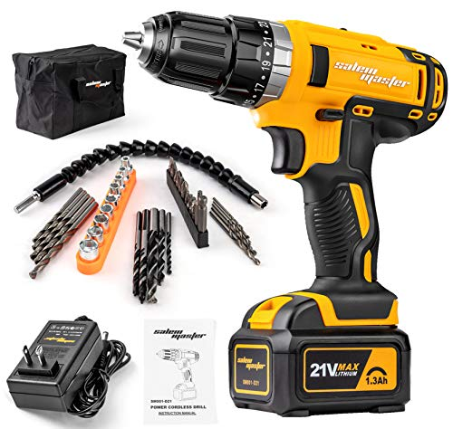 SALEM MASTER Cordless-Drill-Driver-Kit 21V Max Impact Drill with 3/8'' Auto Chuck, 23+1 Clutch 2-Speed Built-in LED 37pcs Accessories Compact Drill for Home Improvement & DIY Projects (Yellow)