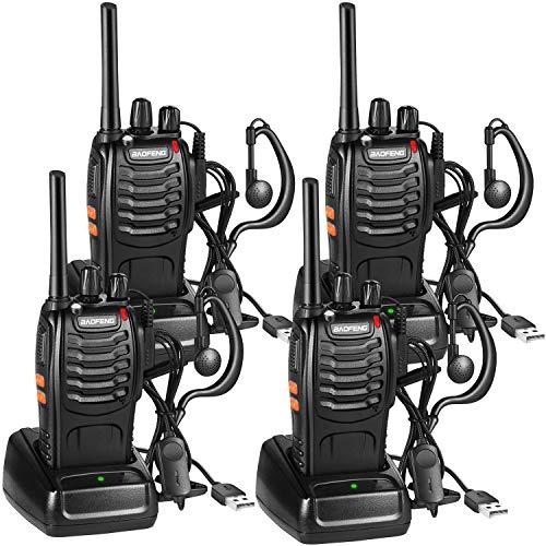 Nestling Funkgerät Set,BF-88E Walkie Talkie 16 Kanäle Sprechfunkgerät Funktelefon in beiden Richtungen,Funksprechgerät Eingebauter LED Taschenlampe mit USB Anschluß und Headset(4er Set)