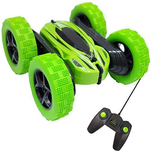 Top Race Control Remoto Stunt RC Toy Radio giratoria de 360 ° Coches de Carreras controlados con Spinning y rotación Acción Juegos al Aire Libre para niños Adultos Niños Mayores de 3 años, Verde