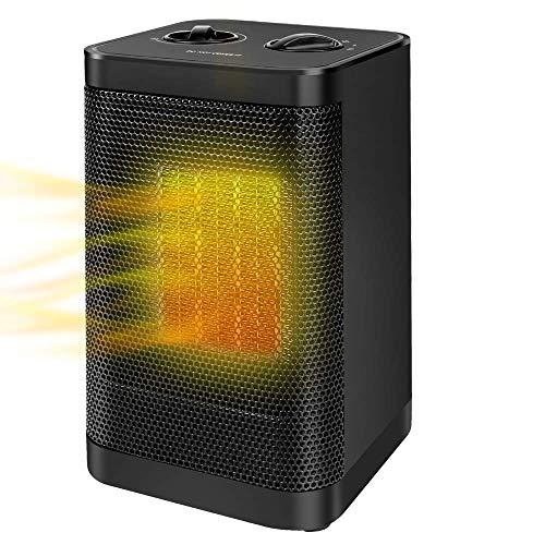 MIABOO Radiateur Soufflant Céramique,750W/1500W Radiateur de Bureau Portatif avec 3 Réglages de Température Chauffe Rapide Protection Anti-surchauffe Sécurité Anti-basculement