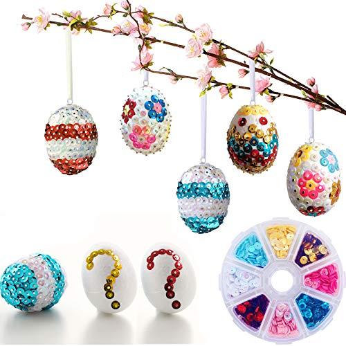 Gallop Chic 20 Ostereier aus Styropor Aufhängen DIY Pailletten-Eier, Ostern Basteln Set für Dekoration und Geschenk | Deko Styroporeier | bunten Pailetten Stecknadeln | Osterdekoration zum verzieren