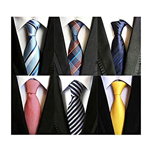 MENDENG ネクタイ メンズ ビジネス 紳士用 シルク セット 6本 チェック ストライプ 無地 ドット パーティー フォーマル カジュアル 快適 面接 就活 洗濯可能