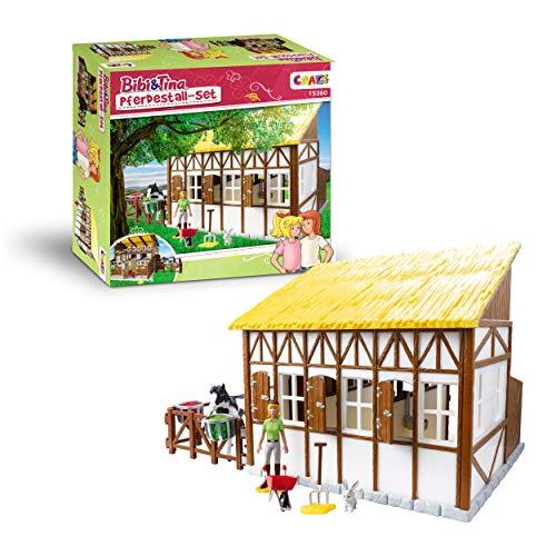 CRAZE Bibi und Tina Bibi & Tina Set mit Pferden Spielfiguren und Zubehör Reiterhof, Großer Pferdestall XL 15360