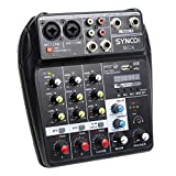 SYNCO MC4 Mezclador-Audio-Mixer-USB-Bluetooth(Cable de USB no Incluido), 4 Canales Mono Stereo...