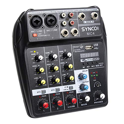 SYNCO MC4 Audio Mixer Bluetooth USB Record 4-Channel Mono Stereo Input Reverb Effects, 48V Phantom Power, Audio Interface Board for Stage Tuning, Home KTV, Studio Music, Sound Recording etc