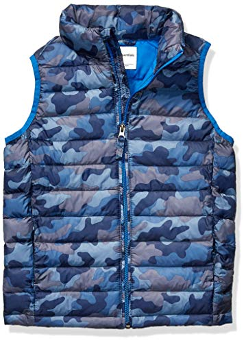 Amazon Essentials Toddler Boys Light-Weight Water-Resistant Packable Puffer Vests, Blue Camo, 3T