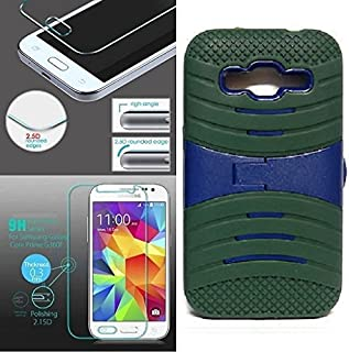 [ NP ARMOR ] Premium Tempered Glass Screen Protector + uARMY/Blue Phone Case for Samsung Core Prime/Samsung Prevail LTE / G360P G360 SM-G360V G360T1 G360T G360H