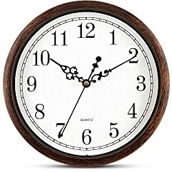 Bernhard Products Brown Wall Clock Silent Non Ticking 10 Inch Quality Quartz Battery Operated Round Easy to Read Home/Office/Classroom/School Clock (10 in Vintage)