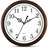 Bernhard Products Brown Wall Clock 10 Inch Silent Non Ticking Movement Quality Quartz Battery Operated Round Easy to Read Decorative Home/Kitchen/Office/Bedroom/Classroom/School Clocks
