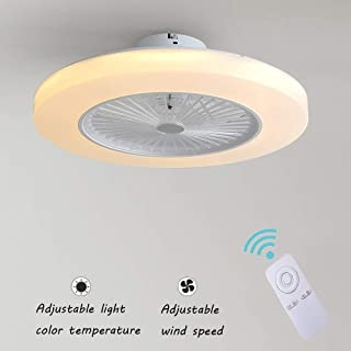 Ventilador de Techo con Lámpara, 36W Creativo Ventilador Invisible LED Lámpara de Techo Control Remoto Regulable Ultra Silencioso Lata Tiempo Ventilador Lámpara 58 * H20cm [Clase De Energía A ],White
