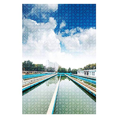 1000 Pieces Wooden Jigsaw Puzzle Modern Urban Wastewater Treatment Plant Water City Stock Pictures, Fun and Challenging Board Puzzles for Adult Kids Large DIY Educational Game Toys Gift Home Decor