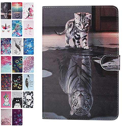Ancase Tablet Case for Universal 10 Inch Leather Wallet Case Samsung Huawei Apple Lenovo Tablet 9.6 9.7 10.1 10 inch Protective Cover with Card Slots - Cat and Tiger