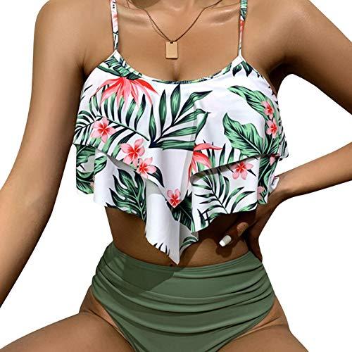 ADJ Traje de banho feminino sexy com contraste de seios altos e degradê, conjunto de biquíni de cintura alta, peça única, biquíni sexy de cintura alta, traje de banho feminino com estampa de babados