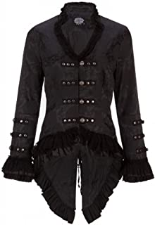 Womens Black Brocade Gothic Steampunk Floral Pirate Coat Tail Jacket Tailcoat with Lace Embellishments
