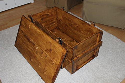 Uncle Joe´s Truhe Couchtisch Truhentisch im Vintage Shabby chic Style aus Massiv-Holz in braun mit Stauraum und Deckel Holzkiste Beistelltisch Landhaus Wohnzimmertisch Holztisch - 3