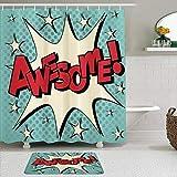Minalo Juego de Cortinas de Ducha de 2 Piezas con Alfombra de baño Antideslizante,Burbuja cómica Vintage en Estilo Pop Art con Dibujos Animados All Star Humor,12 Ganchos,Decoración de baño
