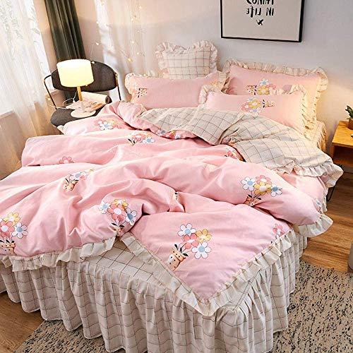 Juego de cama de microfibra hipoalergénica ultra suave, juego de cama de 4 piezas, falda de cama para niña, 220 x 240 cm, microfibra con fundas de almohada Baibao