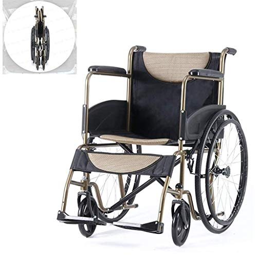 AOLI Wheelchair Self-Propelled, Lightweight Folding Portable Manual with Adjustable Foot Pedal Non-Pneumatic Tire Large Capacity Storage Bag Disabled/Elderly Trolley Scooter