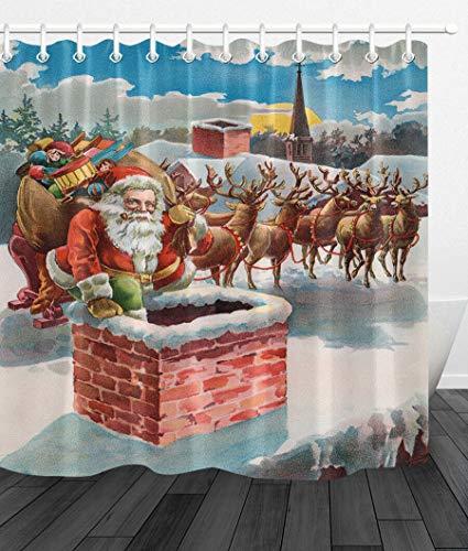FGHJK Xmas Santa Reindeer and Sleigh on the Roof Top Shower curtain waterproof toilet decoration bathroom shower curtain