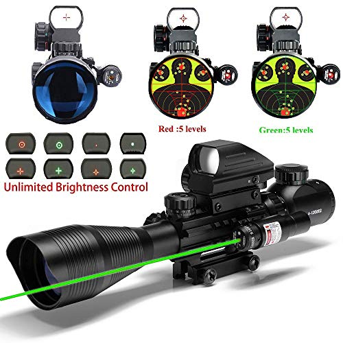 UUQ C4-12X50 Rifle Scope and 4 Tactical Holographic Dot Reflex Sight