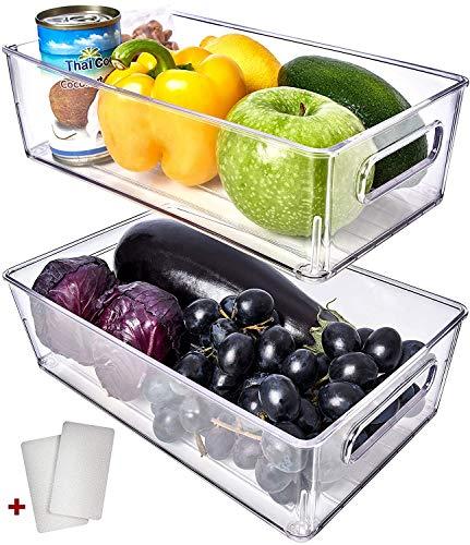 Fullstar Fridge Organizer Bins 2 Pack - Refrigerator Organizer Bins Freezer Organizer Stackable Refrigerator Storage Bins Fridge Storage Containers Clear Pantry Organization And Storage Bins