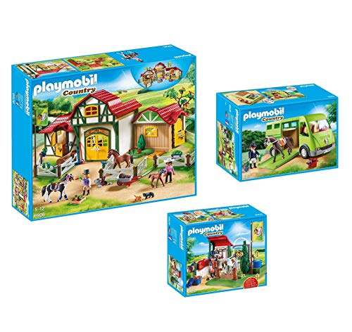 PLAYMOBIL Horse Farm 3 Box Set Bundle with Horse Farm Building, Horse Transporter Building, and Horse Grooming Station Building Playsets