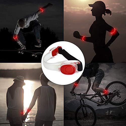 EasyULT 2 Pieza Banda Reflectante, Luz Running Silicona Brazalete Banda Reflectante, Pulsera LED Brilla en la Oscuridad Ajustable Brazalete, Luz LED Intermitente para Correr Ciclismo-Rojo