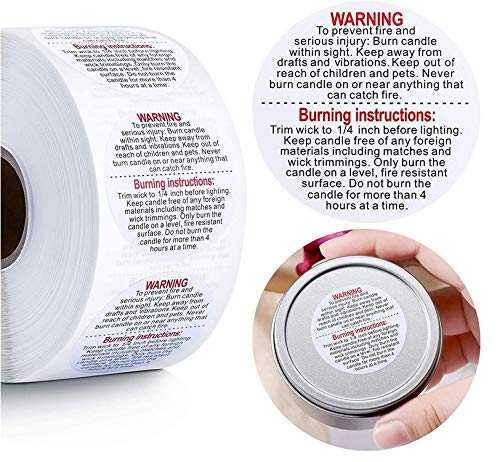 1000 Pieces Candle Warning Labels,1.49-inch Safe Wax Melting Candle Sticky Labels for Candle Making Suitable for Candle Jars, Tins Containers, and Votives Jars (Round, White Background)