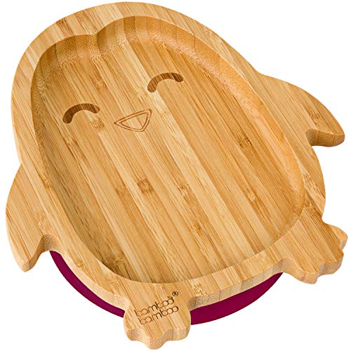 bamboo bamboo  Baby Toddler Penguin Suction Stay Put Feeding Plate (Cherry)