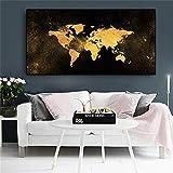 Said - Mapa del mundo abstracto sobre lienzo, póster nórdico escandinavo, decoración para la habitación de los niños, 50 x 100 cm, sin marco