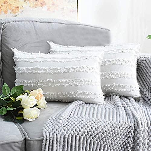 eewopjkj 2PCS Cojines Decorativos de algodón y Lino Fundas de Cojines con diseño de borlas Funda sólida para el hogar para sofá Silla Coche sofá Dormitorio Fundas de Almohada Decorativas Blanco
