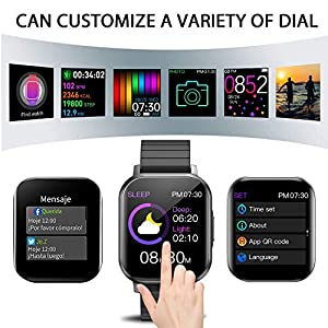 Smart Watch for Men Women, Watch Tracker with Heart Rate Monitor with Music Control, Waterproof Fitness Watch with Pedometer, Android Smart Watch for Android Phones and for iPhone Compatible (Black)