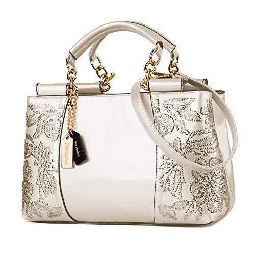 Nevenka Damen Kleine umhängetasche, Crossbody Bag aus PU Leder, Große Damen Schultertasche Handtasche mit Reißverschluss, Abendtasche für Party &Büro (Elfenbein)