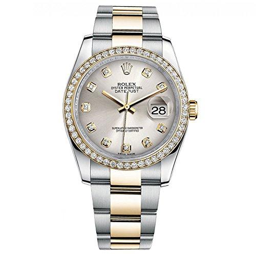 Rolex Datejust 36 Steel Yellow Gold Watch Diamond Bezel Silver Diamond Dial 116243
