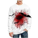 Tops for Men Halloween 3D Printed Pumpkin Long Sleeve Fashion Ghoust Horror T-Shirt Autumn Casual Loose Blouse Tee (10 White, M)